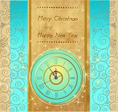Happy New Year and Merry Christmas vintage background with clock