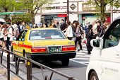 Traffic jam on the main crossroad of Harajuku shopping street