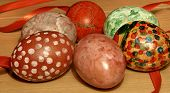 stock photo of stippling  - Easter eggs home decorated  - JPG