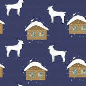 Background With The Image Of The Reindeer And The House