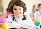 Cheerful kids sitting with apple and globe on desk in classroom