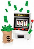 Casino illustration with slot machine and money