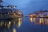 Hamburg - Deepwater Port Hamburg-waltershof In The Evening