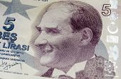 Ataturk on Five Lira Banknote