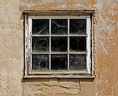 Old Dusty Window In The Wall Of House
