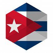 Cuba Flag Hexagon Flat Icon Button
