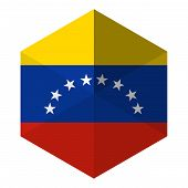 Venezuela Flag Hexagon Flat Icon Button