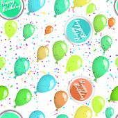 Happy birthday seamless pattern with ballons