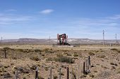 stock photo of pampa  - Derrick in the pampas of Patagonia - JPG