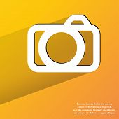 Camera. Flat modern web button with long shadow and space for your text.