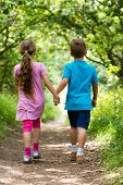 Walking Boy And Girl