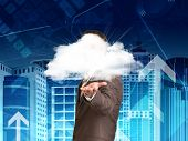 Businessman in a suit hold cloud
