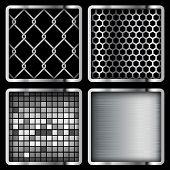 Metal Background, grid, mosaic. Set. Illustration, Vector eps10.