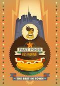 Vintage fast food restaurant poster. Vector illustration.