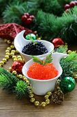 festive appetizer delicacy red and black caviar, Christmas Still Life
