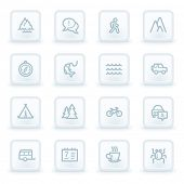 Travel web icon set 3, white square buttons