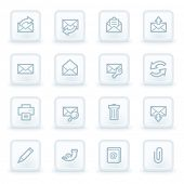 Email web icons,  white square buttons