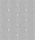 Seamless black and white hexagonal lines vector pattern.