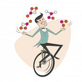 funny cartoon man juggling with molecules
