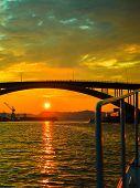 Sunset Over Suspension Bridge In Bergen, Norway
