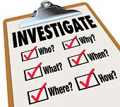 foto of pry  - Investigate word on a checklist asking questions who - JPG