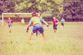 Soccer game, shallow focus