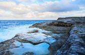 Natural baths at rocky coast of Eleuthera island, Bahamas