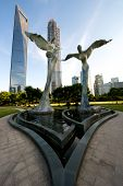 Shanghai Sculptures With Tall Building
