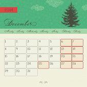 Calendar for December 2014, vector