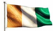 Cote D'ivoire National Flag Isolated 3D White Background