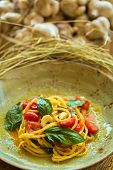 Homemade Pasta With Basil And Tomatoes