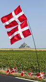 Mont Saint Michel Monastery And Norwegian Flags