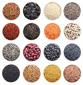 Grain collection isolated on white background. Chia seeds, black and white sesame,rice, lentil, flax.