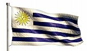 Uruguay National Flag Isolated 3D White Background