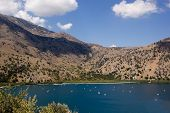 Lake Kournas. The Largest Freshwater Lake In Crete
