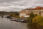 View Of The Vltava River And The Promenade From The Charles Bridge In Prague
