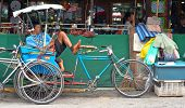 Tricycle Bicycle Taxi Parking At The Street