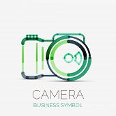 camera icon company logo design, business symbol concept, minimal line design