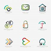 stock photo of social housing  - Set of 9 various company logos - JPG