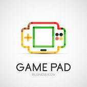 gamepad company logo design, business symbol concept, minimal line style