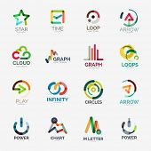 Abstract company logo collection - 16 line style business corporate logotypes