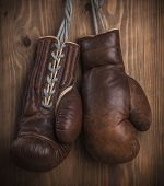 Brown old boxing gloves