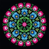 Polish traditional circle folk art pattern on black - Wzory Lowickie, Wycinanka