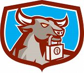 Angry Bull Head Padlock Shield Retro
