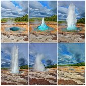 Card memory. Gushing geyser Strokkur. Collage showing different phases of the action of the geyser