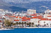 Panoramic View From The Open Sea On Croatian City Of Split On The Adriatic Coast