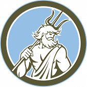 Neptune Poseidon Trident Circle Retro