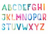 Colorful watercolor aquarelle font type handwritten hand draw doodle abc alphabet letters.