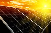 stock photo of environmental protection  - Power plant using renewable solar energy with sun - JPG