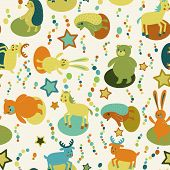 Seamless Pattern With Cartoon Forest Animals